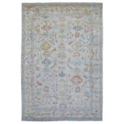 9and0399x14and0391 Gray Hand Knotted Angora Oushak 100 Wool Oriental Rug G68621