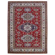 10and0393x13and0392 Red Super Kazak Geometric Medallions Wool Hand Knotted Rug G68625