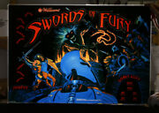 New Licensed Williams Swords Of Fury Pinball Machine Backglass Not Translite