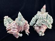 2 Ceramic Clown Figurines Made In Italy For Gump's San Francisco