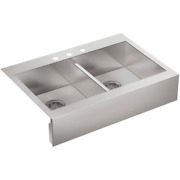 Vault Farmhouse Drop-in Apron Front Self-trimming Stainless Steel 36 In. 3-hole