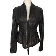 Burning Torch Leather Jacket Medium Fits Small Brown Crinkle Washable Blazer