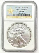 2013-w American Silver Eagle 1oz .999 - Ngc Ms70 - Early Releases West Point