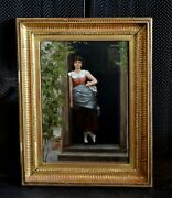 Franz Wilhelm Voigt 1867- Oil Painting Young Woman In Doorway - Munich Germany