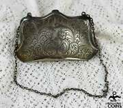 Antique William B. Kerr And Co. Victorian Sterling Silver Ladies Purse W/chain