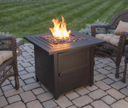 Black Firepit Table Fire Glass Lp Gas Protective Cover 30 Square Outdoor Patio
