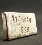 Hand Poured Vintage Silver Bar 112 Gram 999 Pure Silver