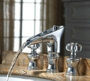3 Pcs Widespread Basin Lav Sink Faucet Waterfall Chrome Mixer Tap Crystal Handle