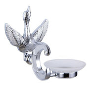 Chrome Color Bathroom Brass And Glass Swan Soap Holder Soap Dish With Crystal