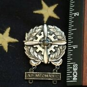 Wwii Us Army Air Force Technician Badge W Ap Mechanic Bar Sterling Silver Real