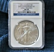 2011 S Silver American Eagle Ngc Ms 69 Er 25th Anniversary Set