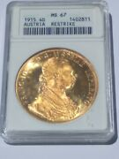 1915 Austria 4 Ducat Ms 67 Anacs Certified Gold Coin