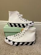 Off White X Converse Size 8.5 Chuck Taylor 70 High Top White In Hand