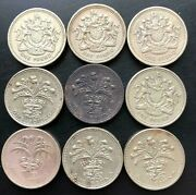 Uk 1983 - 1993 Gb Coin 1 Pound Welsh - Shield - Scottish Lot Of 9 Pc.