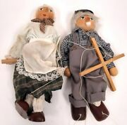 Vintage Old Couple Handmade Wood Marionettes Puppets