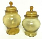 Set Of 2 Vintage Etched And Cut Tinted Honey Amber Glass Lidded Jars Canister Pair