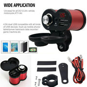 Motorcycle Dual Usb Phone Charger Voltmeter Cigarette Lighter Multi-protection