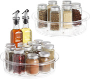 Lazy Susan 2 Pack Clear Spinning Organization Storage Container Bin 9 Inch