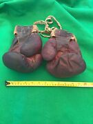 Vintage Red Leather Boxing Gloves With Webbed Tape By Baileys Of Glastonbury
