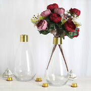 6 Clear Gold 14 Tall Glass Bottles Jar Vases Wedding Party Events Centerpieces
