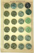 Vintage Buttons - 24 Mixed Green And Grey Uniquely Carved Casein 7/8 Buttons -uk