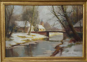 1930s Vintage Painting Kees Terlouw Impressionist Landscape Winter Countryside