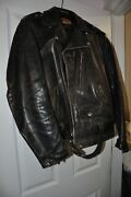 Vintage Leather Motor Cycle Motorcycle Bikers Jacket Wolf Outer Wear Of Boston