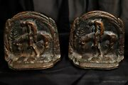 Antique 1920's Metal Native American Indian Figural Bookends End Of The Trail