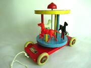 Vintage 1960s Brio Wood Carousel Merry-go-round Pull Toy With Bell Sweden