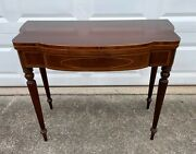 Antique Mahogany Victorian Style Flip Top Side Accent Sofa Card Game End Table