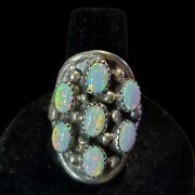 Navajo Opal Cluster Ring Size 8 Sterling Silver Signed Native American