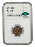 1918-s 1c Ngc/cac Ms64 Bn - Lincoln Cent