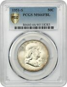 1951-s 50c Pcgs Ms66 Fbl - Scarce Date With Full Bell Lines