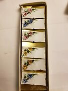 Antique Japanese Porcelain Place Cards Set 6 Tags For Dinner Table Hand Painted