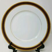 Cowell And Hubbard Limoge Dinner Plates Maroon And Gold Encrusted - Cleveland Oh