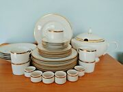 Very Rare 2000 The Cellar Gold And White 34 Piece Dinnerware Set Service For 5 +