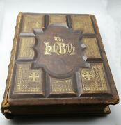 Antique 1881 Holy Bible Large Family Holman Fancy Leather W/ Small Issues