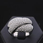Ring Halo White Gold 18 Carats Pave Of Bright 1.18 Ct Natural Doesnand039t Treated