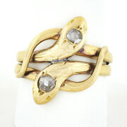 Antique Victorian French 18k Yellow Gold Diamond Dual Snake Head Bypass Ring