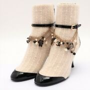 Coco Mark 20a Patent Leather X Tweed Boots 35 Ladies White Camellia Neckl