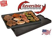 Pre Seasoned Cast Iron Reversible Griddle And Grill Portable Cooking