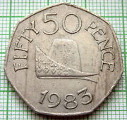 Guernsey 1983 50 Pence Ducal Cap Of The Duke Of Normandy