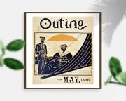 Photo Advertisement For Magazine,outing For May,1896,guitar,sailboat,man,woman
