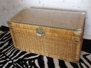 Vintage Wicker Rattan Chest Trunk Brass Asian Hardware Glass Top Coffee Table