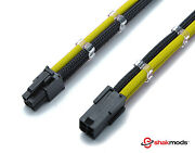 4 Pin 30cm Black And Yellow Cpu Mobo Sleeved Extension Shakmods + 2 Cable Combs
