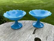 Pair French Portieux Vallerysthal Blue Opaline Small Footed Bowls - Comports