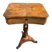 Antique English 1840s Sewing Side Table Mahogany Interior Walnut And Flip Top