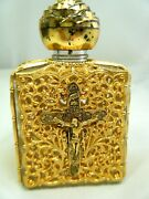 Vintage Priests Holy Water Bottle Crucifix Filigree With Sprinkle Cork Insert