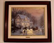 Thomas Kinkade Home For The Holidays S/n 186/980 Framed Canvas Painting W/coa