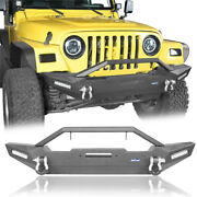 Front Bumper W/winch Plate And 2x 18w Led Spotlights Fit Jeep Wrangler Yj Tj 87-06